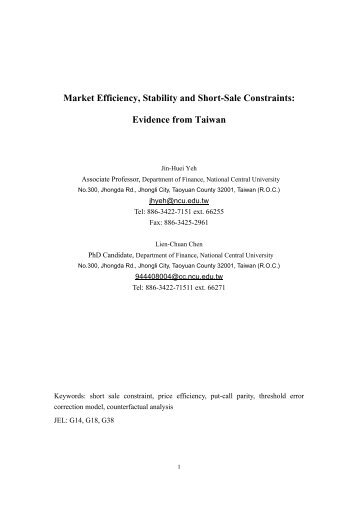 Market Efficiency, Stability and Short-Sale Constraints: Evidence ...