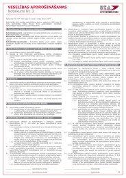 VESELĪBAS APDROŠINĀŠANAS Noteikumi Nr. 3 - BTA