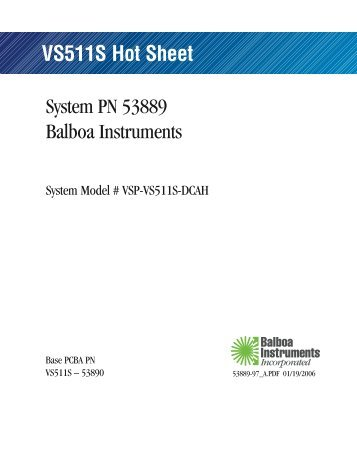 VS511S Hot Sheet - Balboa Direct