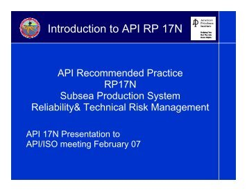 Introduction to API RP 17N - My Committees
