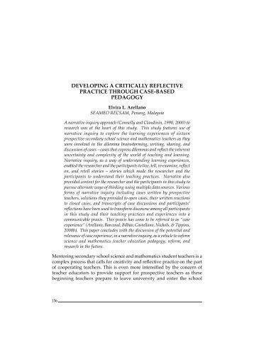 developing a critically reflective practice through ... - seameo recsam