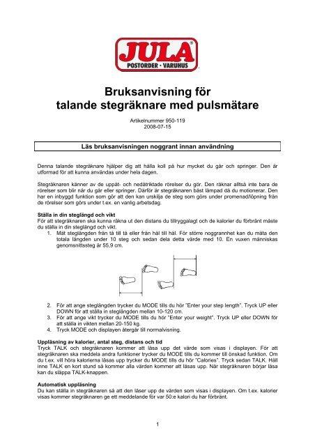 Bruksanvisning för talande stegräknare med pulsmätare - Jula