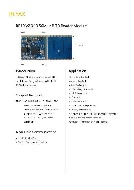 RR10 V2 0 13 56MHz RFID Reader Module
