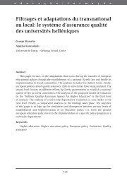Filtrages et adaptations du transnational au local - Higher Education ...