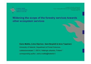 Widening the scope of the forestry services towards other ecosystem ...