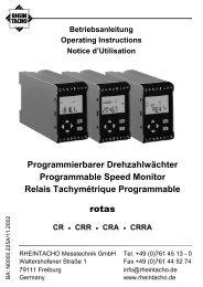 Betriebsanleitung - RHEINTACHO Messtechnik GmbH