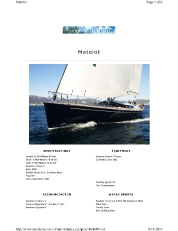 S/Y Matelot - Paradise Yacht Charters