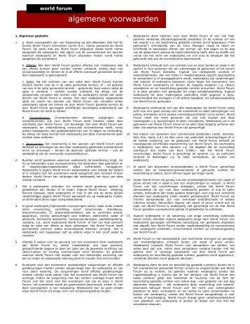 Algemene voorwaarden _versie mei 2012 - World Forum