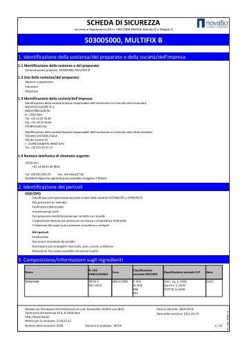 SCHEDA DI SICUREZZA 503005000, MULTIFIX B - tech-masters