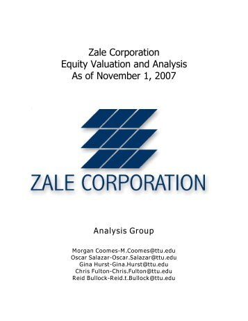 Zale Corporation Equity Valuation and Analysis As of ... - Mark Moore