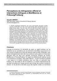 Perceptions du bilinguisme officiel et interactions ... - Publications