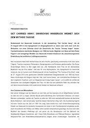 Presseinformation: Get carried away - Swarovski Innsbruck