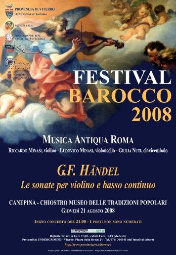 Festival Barocco 2008: Guida agli spettacoli - Provincia di Viterbo
