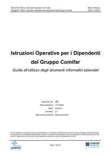 Policy e Istruzioni operative v2 1 - Gruppo Comifar