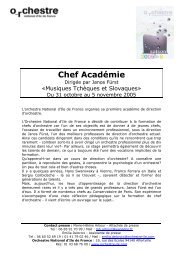 Chef Académie - Orchestre national d'Ile-de-France