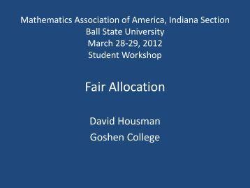 Fair Allocation - MAA Sections