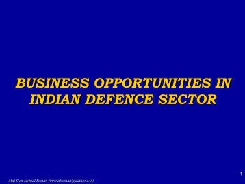 Business Opportunities in the Indian Defence Market