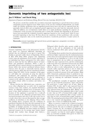 Genomic imprinting of two antagonistic loci - Department of ...