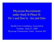 Physician Recruitment under Stark II-Phase II - Health Care ...