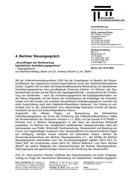 Tagungsbericht 4. Berliner Steuergespräch (PDF-Format)