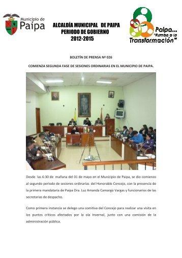 BOLETIN DE PRENSA No 26 - Alcaldía de Paipa