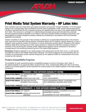 Arlon Print Media Warranty for HP Latex Inks - Computaleta