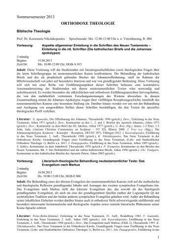 Lehrveranstaltungen SoSe 2013 - Orthodoxe Theologie