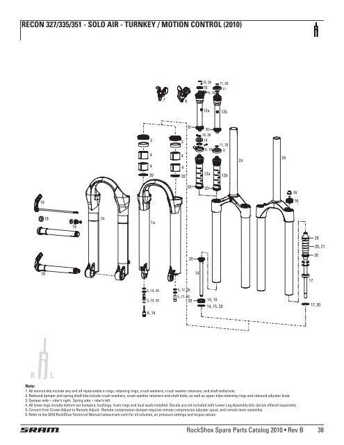 Recon Silver Turnkey//Motion Control//Solo Air RockShox Fork Service Kit Tora
