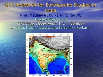 GPS Research for Earthquake Studies in India