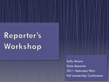 Sally Moore State Reporter 2011 Nebraska FBLA Fall Leadership ...