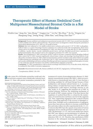 Therapeutic Effect of Human Umbilical Cord Multipotent - Howard ...