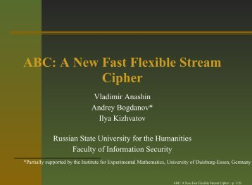 ABC: A New Fast Flexible Stream Cipher - ABC stream cipher