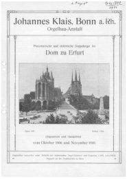 1906 Erfurt, Dom - Orgelbau Klais Bonn