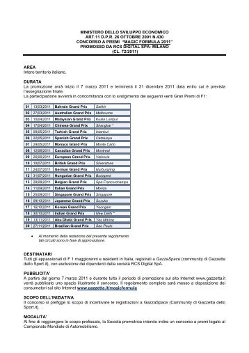 MAGIC FORMULA 2011 - La Gazzetta dello Sport