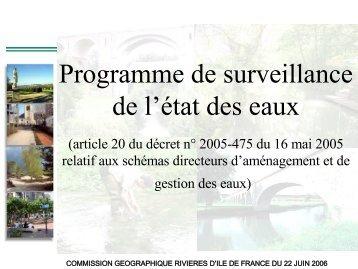 Programme de surveillance de l'état des eaux - Agence de l'Eau ...