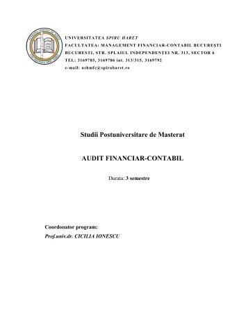 Studii Postuniversitare de Masterat AUDIT FINANCIAR ... - Hipo.ro