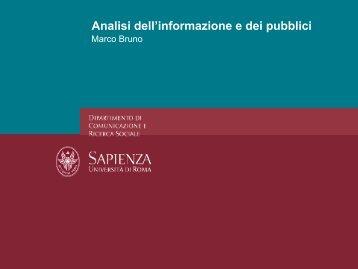 Analisi dell'informazione e dei pubblici - Dipartimento di ...
