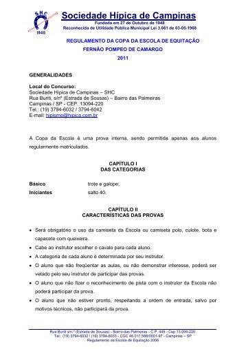 regulamento da escola de equitação - Sociedade Hípica de Campinas