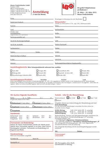 IBO 2013 | Anmeldung