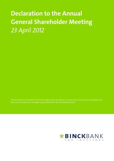 Declaration of the AGM - at BinckBank