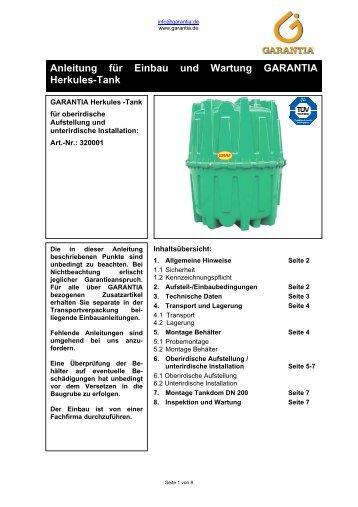 Anleitung für Einbau und Wartung GARANTIA Herkules-Tank - Obi