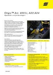 Origo™ Arc 4001i, A22/A24 Optimale ... - Svejsehuset A/S