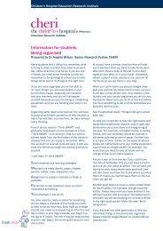 Being organised.indd - CHERI - The Children's Hospital Education ...