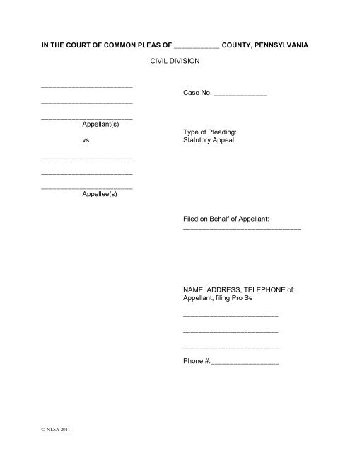 Blank Appeal Forms