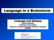 Language and epilepsy - CHERI - The Children's Hospital ...