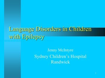 Language Disorders in Children with Epilepsy - CHERI - The ...