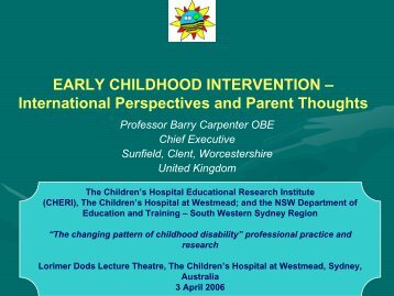 EARLY INTERVENTION - CHERI - The Children's Hospital ...