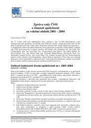 Zpráva rady ČSSI o činnosti společnosti za volební období 2001 ...