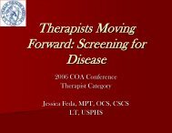 Therapists Moving Forward: Screening for Disease