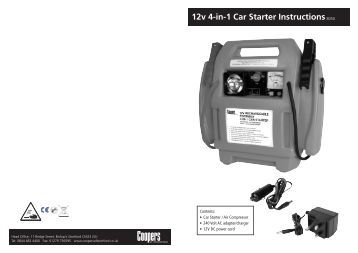 12v 4-in-1 Car Starter Instructions8050 - Coopers of Stortford
